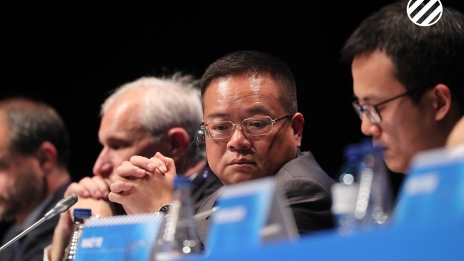 Chen Yansheng, durant la junta d'accionistes de l'Espanyol del passat desembre