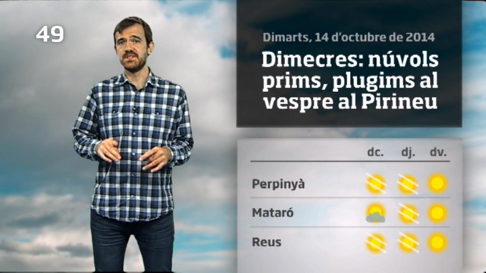 La méteo en 1 minut: més fred al matí i més clarianes (15/10/14)