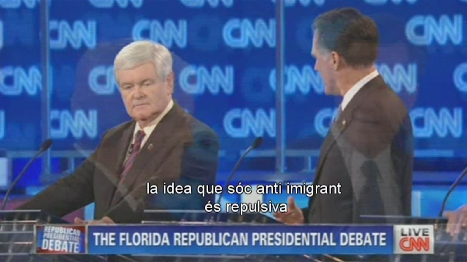 Gingrich i Romney s'enfronten en l'últim debat a Florida: La idea que sóc antiimmigrants és repulsiva