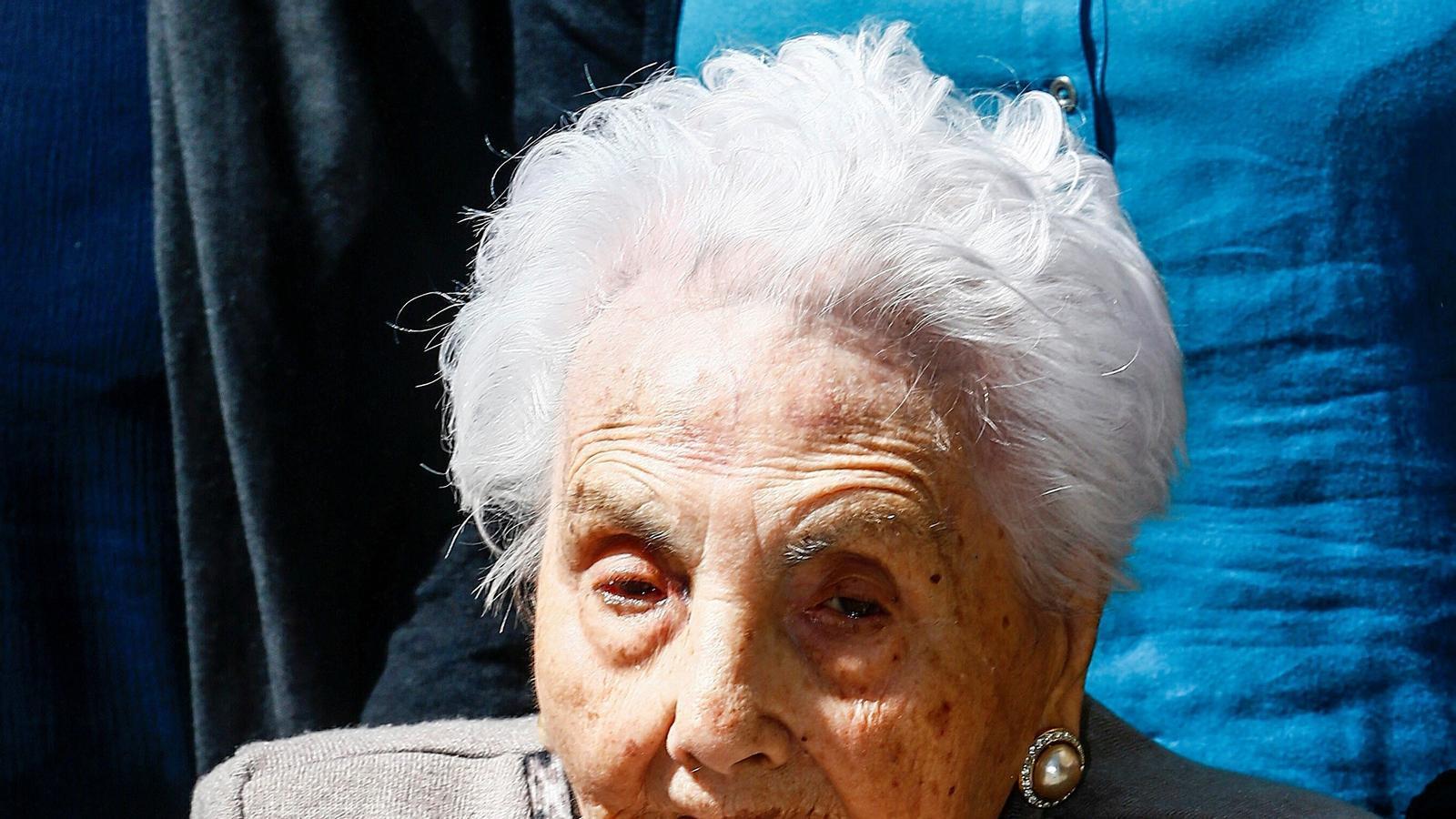 Fotografia de l'abril d'aquest any d'Ana Vela Rubio, la dona més gran d'Europa, que ha mort a Barcelona als 116 anys