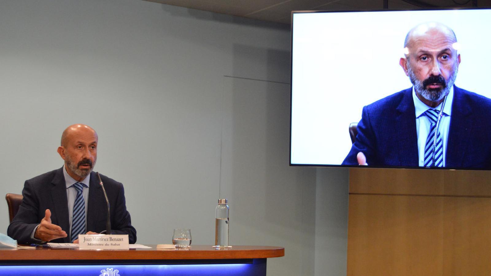 El ministre de Salut, Joan Martínez Benazet, durant la roda de premsa. / M.F. (ANA)
