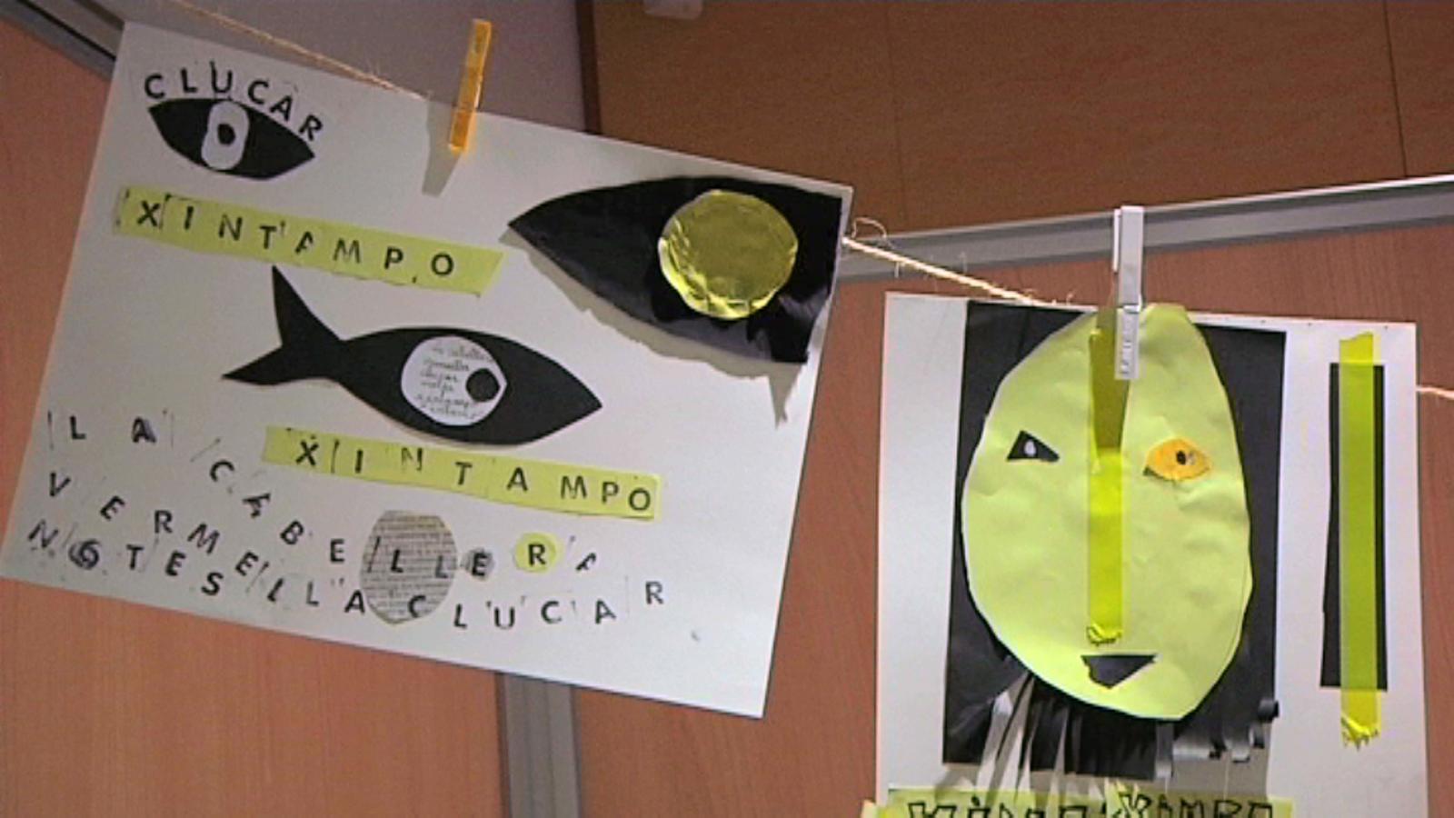 L'il·lustrador Gusti, en un taller infantil de cartells poema: Tota la màgia surt