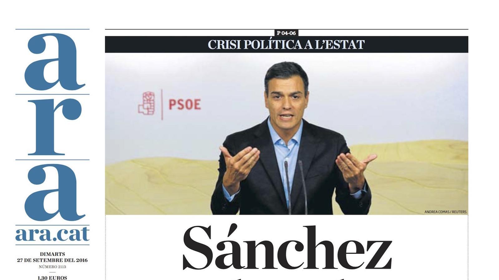 """""""Sánchez contraataca"""", portada de l'ARA"""