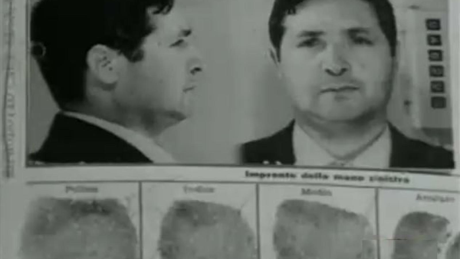 Fitxa policial de Salvatore Riina, àlies Totó Riina, el més important líder de la Cosa Nostra