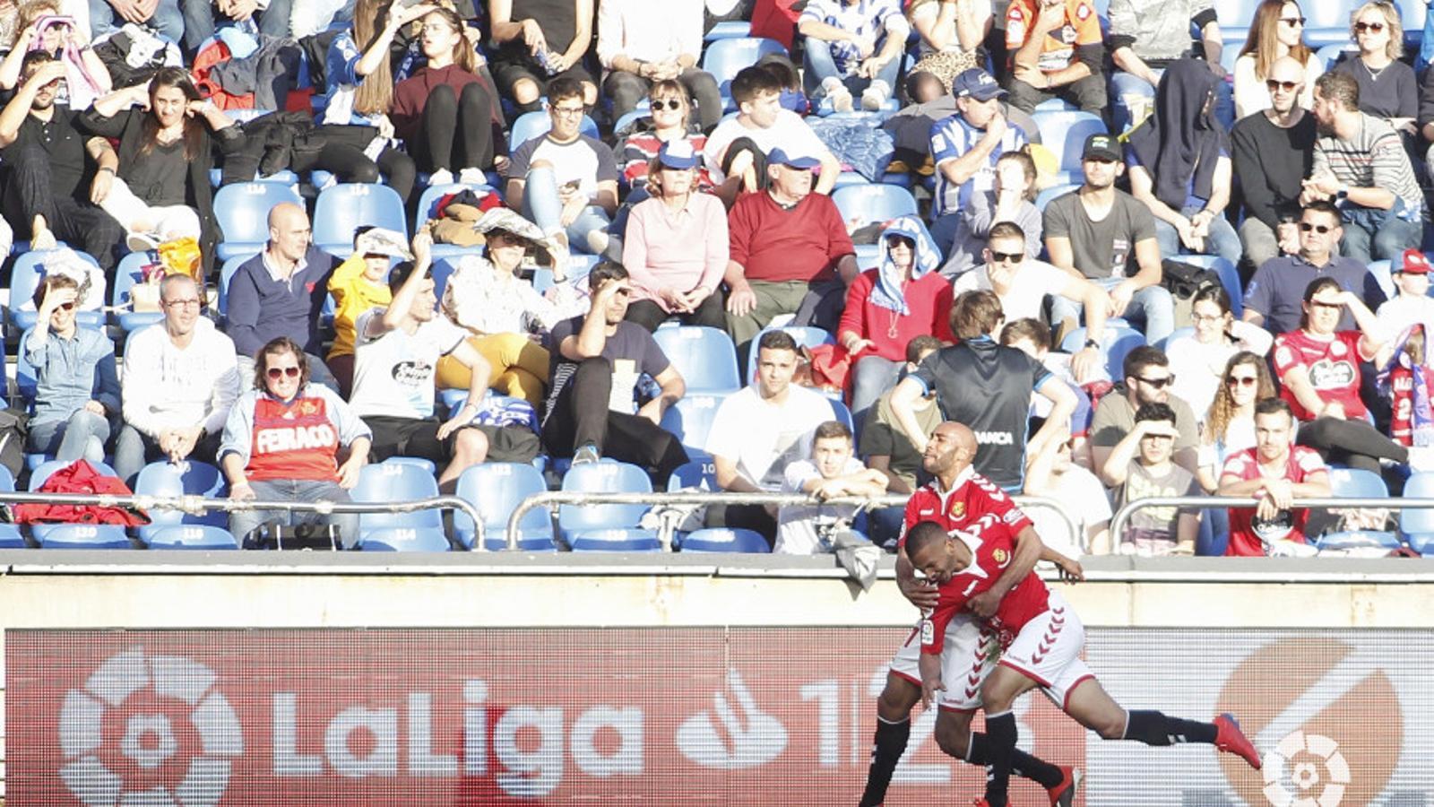 Els jugadors del Nàstic celebren el gol contra el Dépor