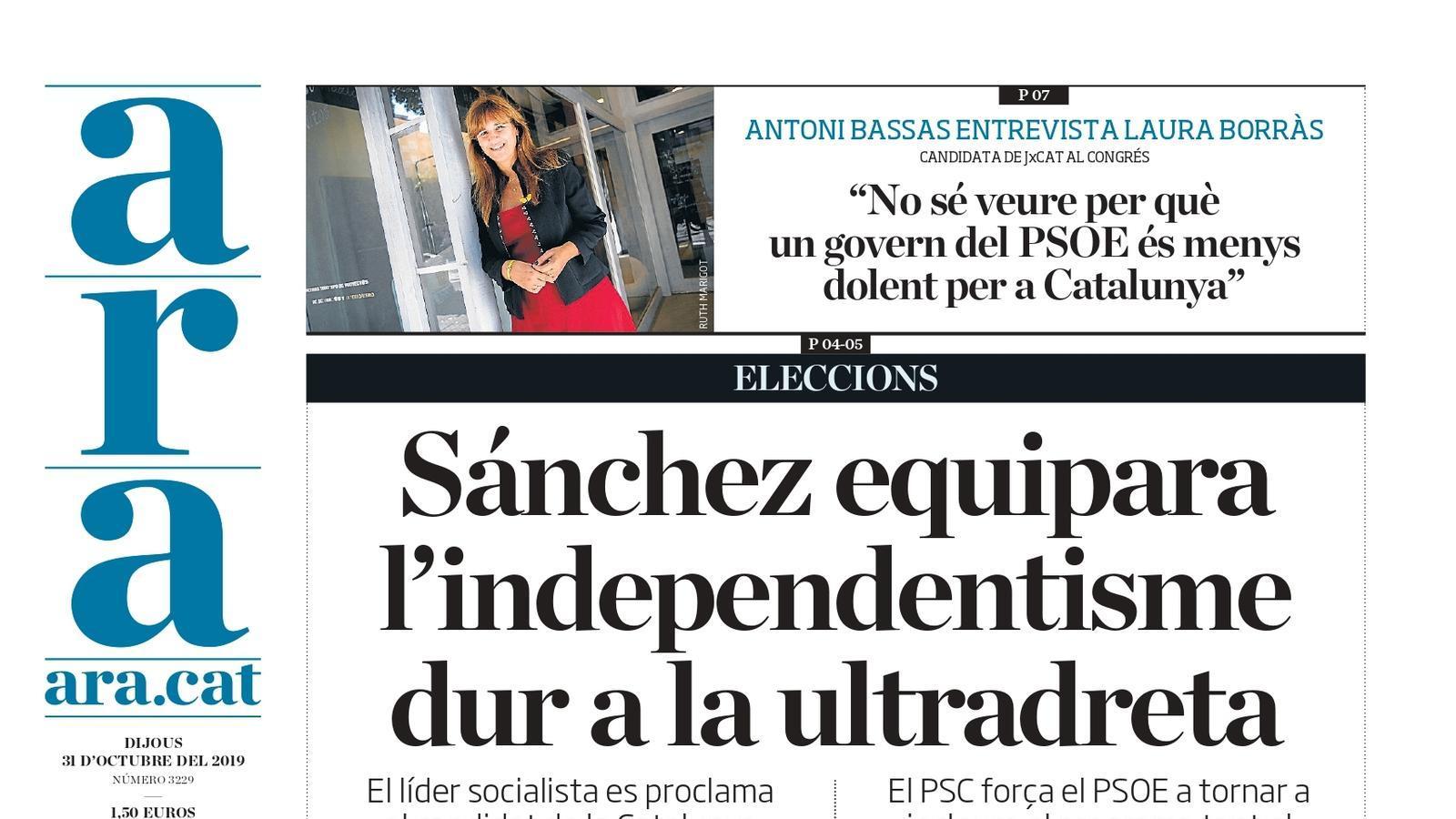 """""""Sánchez equipara l'independentisme dur a la ultradreta"""", la portada de l'ARA"""