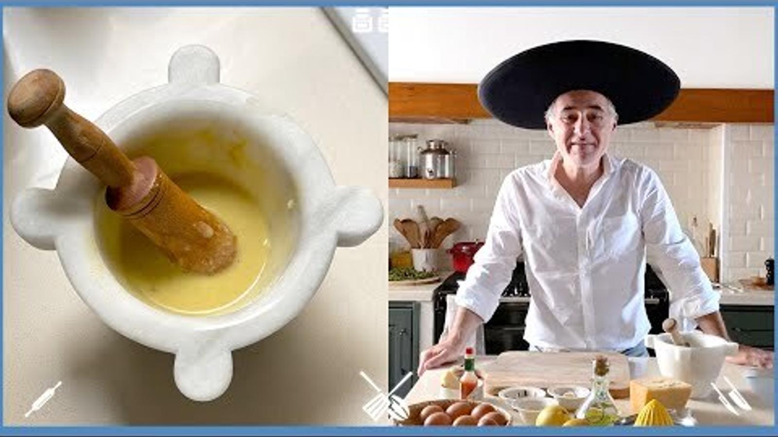 Com es fa la salsa Cèsar? Recepta del cuiner Olivier Guilland, del restaurant La Cuina d'en Garriga