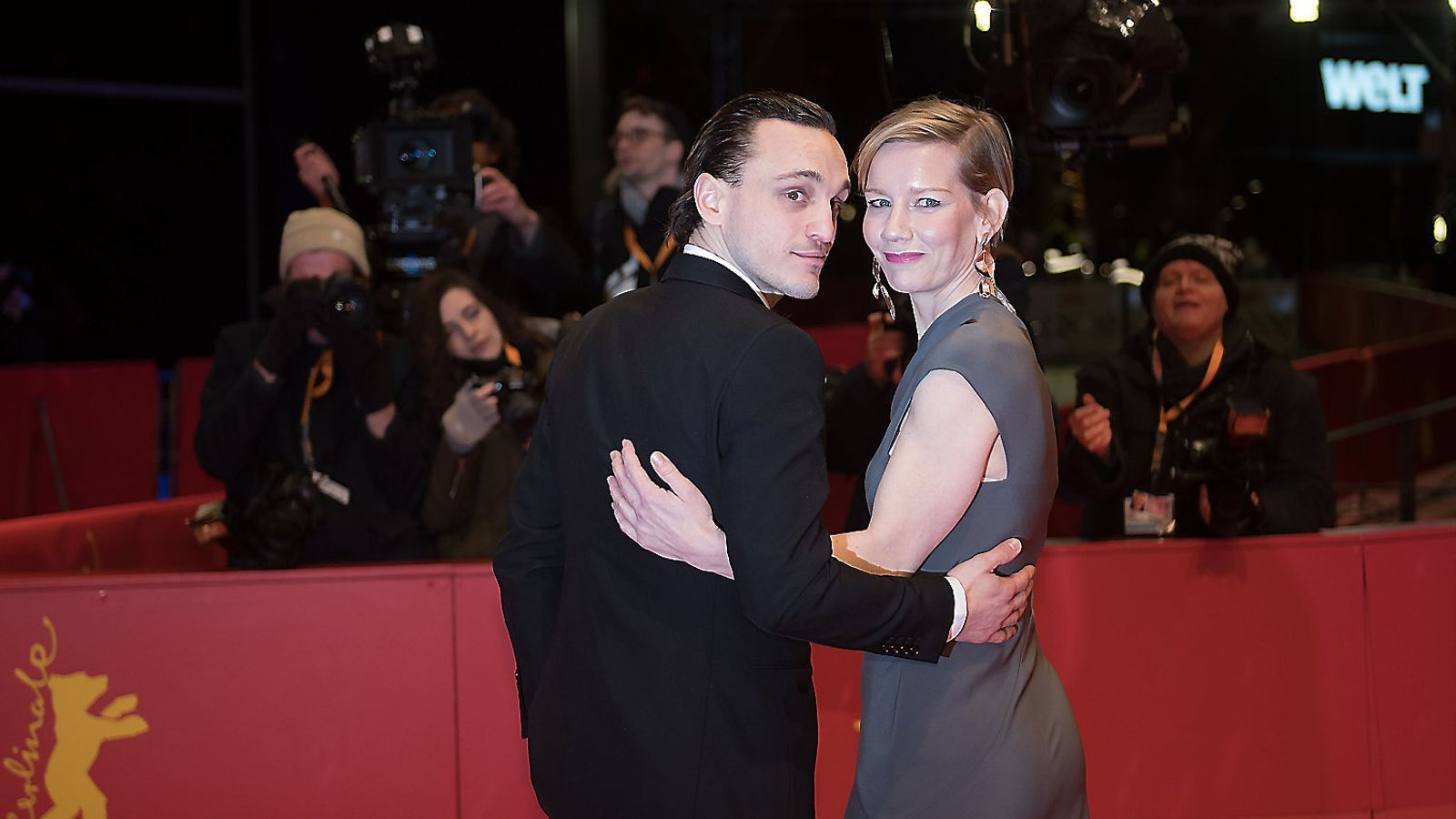 Franz Rogowski i Sandra Hüller ahir durant la presentació d'In the aisles a Berlín.