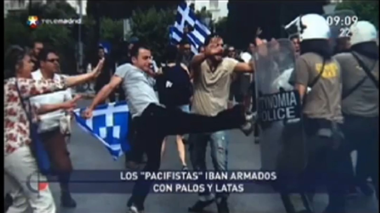 Telemadrid 'confón' manifestants barcelonins amb els grecs