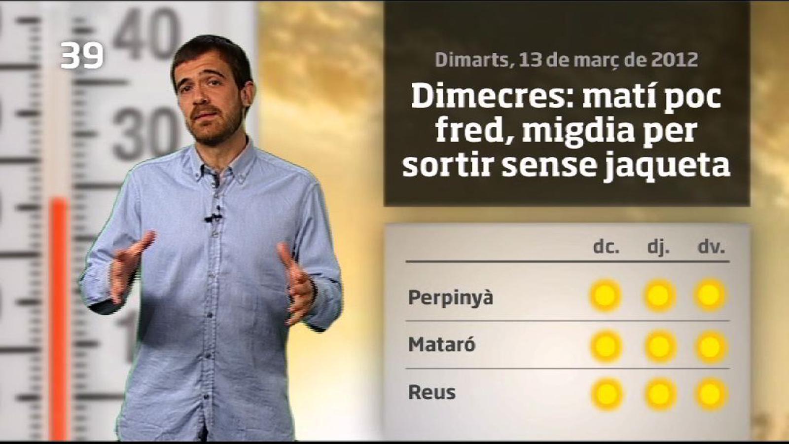 La méteo en 1 minut: canvi de temps de cara a diumenge (14/03/2012)