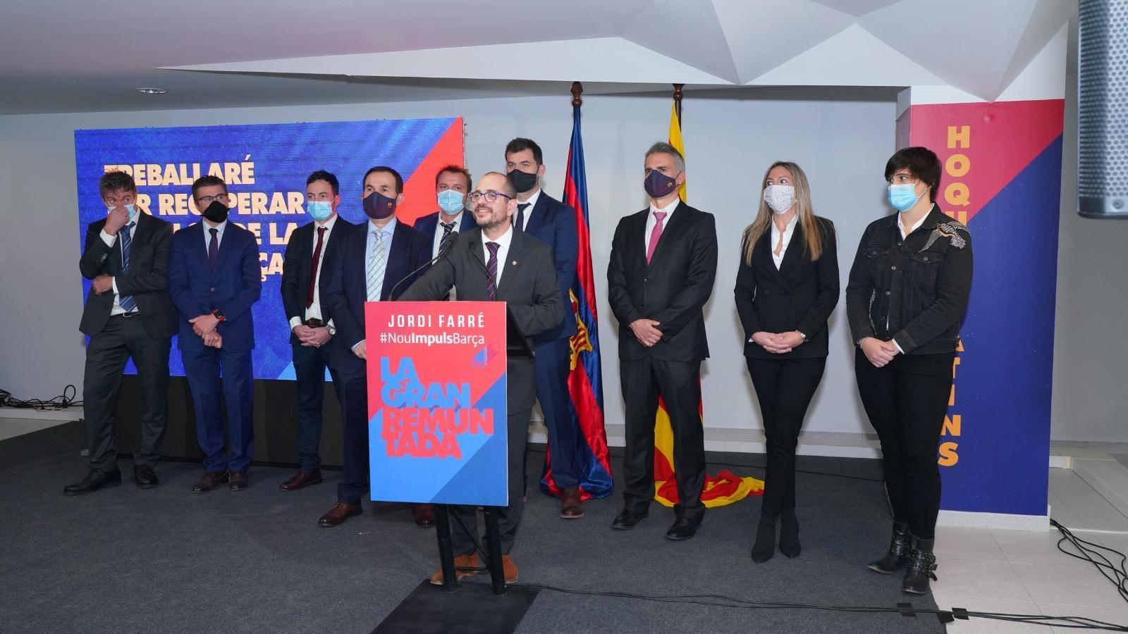 Jordi Farré amb el seu equip per a les eleccions del Barça del 2021