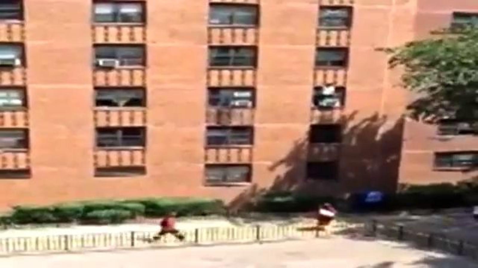 Un home salva una nena al caure d'un tercer pis a Nova York