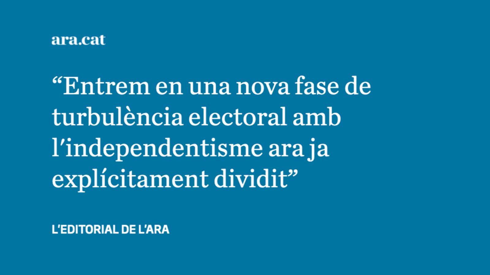 La divisió explícita de l'independentisme