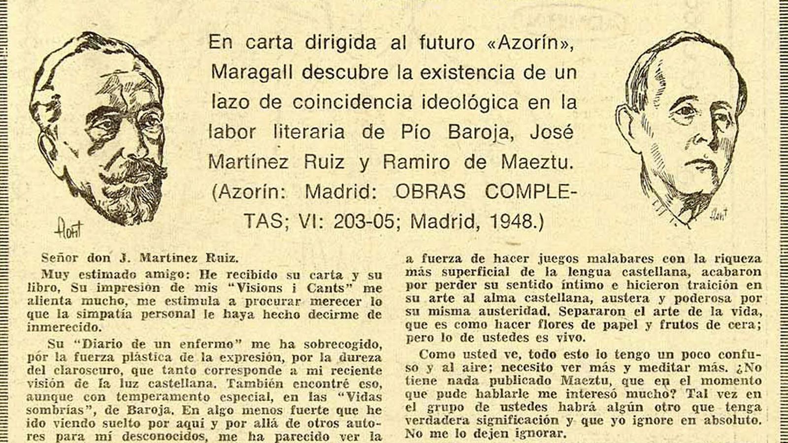 Carta de Joan Maragall, el primer a advertir que s'estava gestant la Generació del 98, a Azorín, que definia el poeta català com el primer líric d'Espanya.
