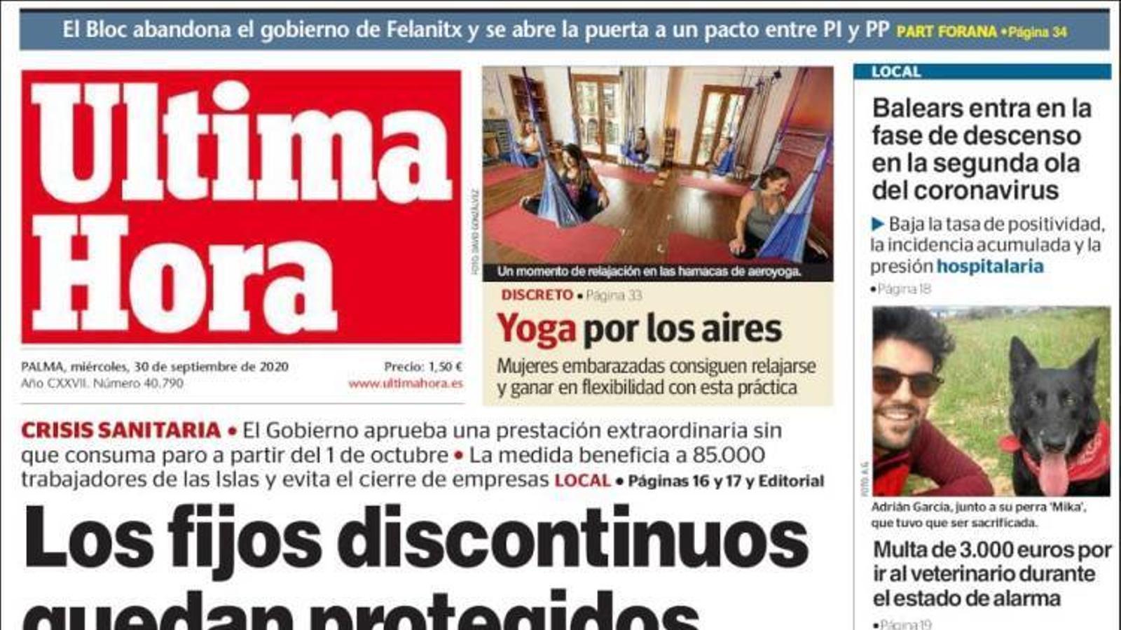 """""""Els fixes discontinus queden protegits fins al 31 de gener"""", a la portada de l''Última Hora'"""