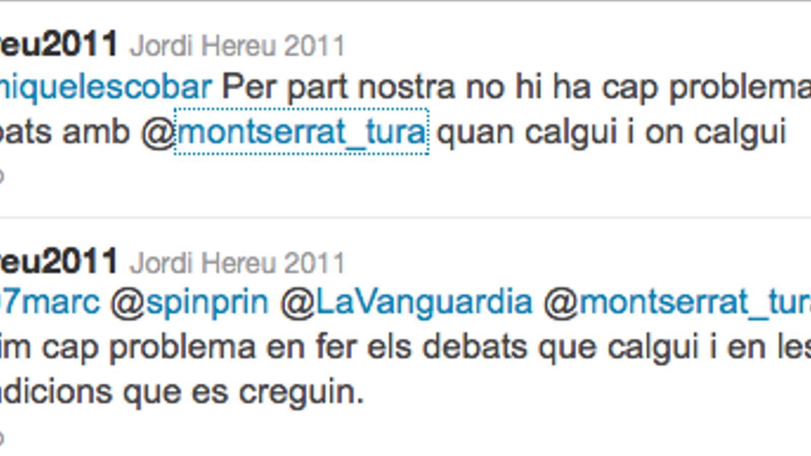 Twitter d'Hereu polemitzant amb Tura