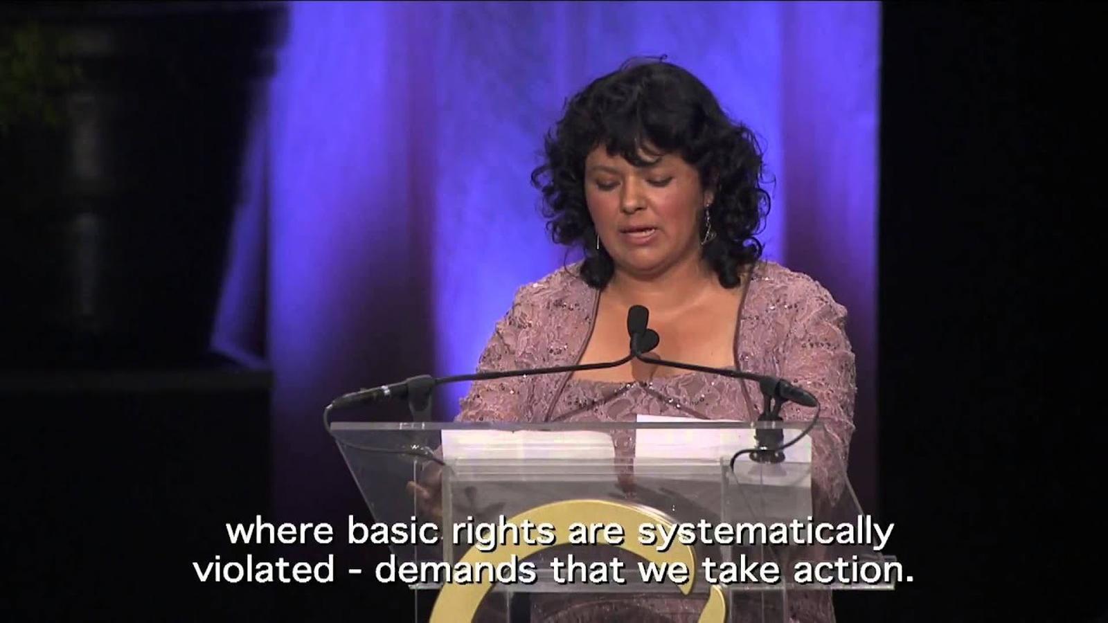 Discurs de Berta Cáceres en rebre el Goldman