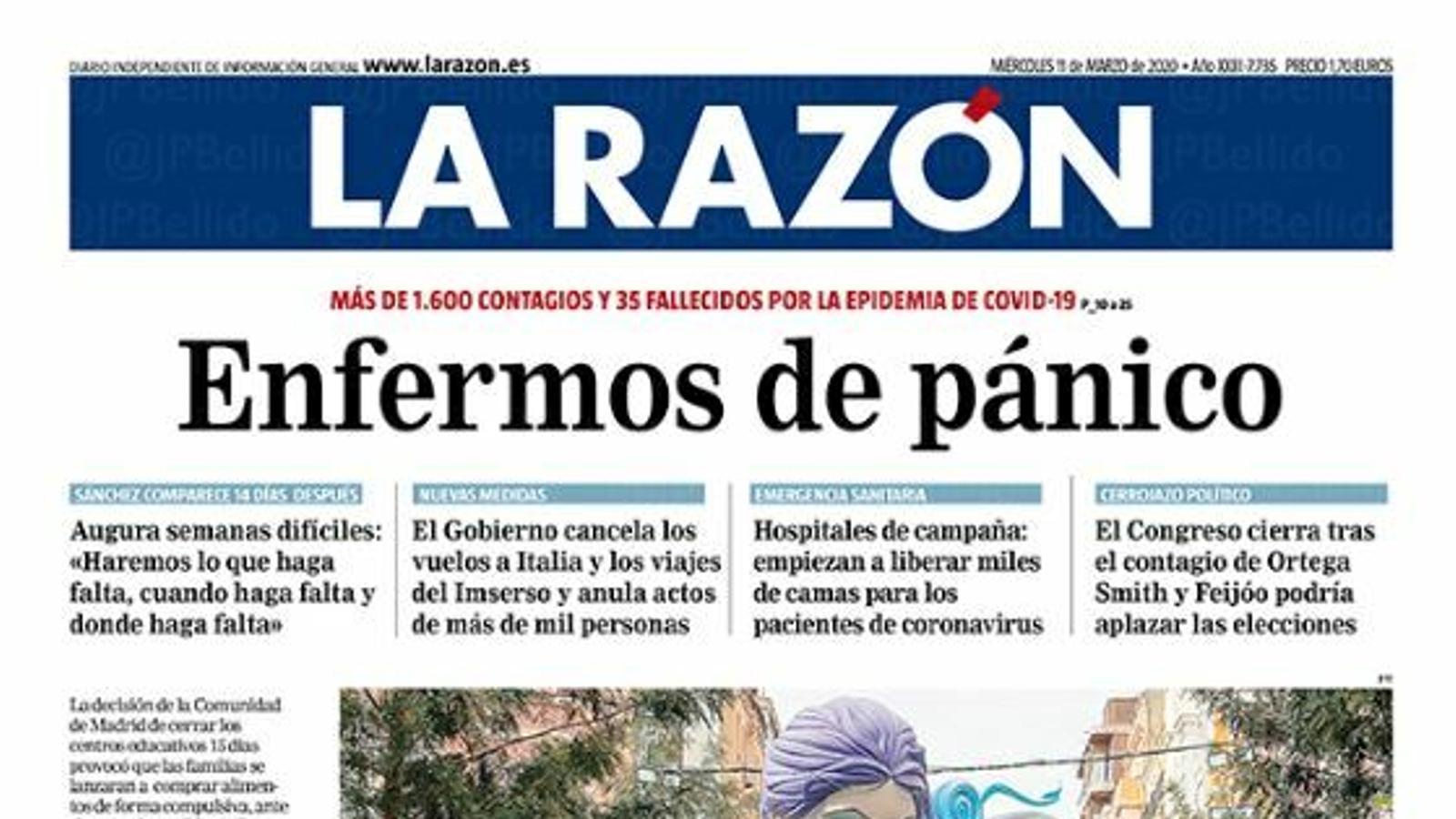 Portada de La Razón, 11 de març del 2020