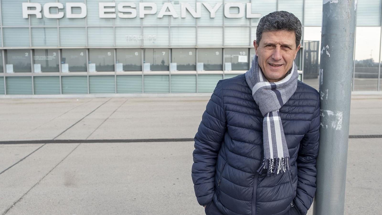 Dani Solsona, davant del RCDE Stadium
