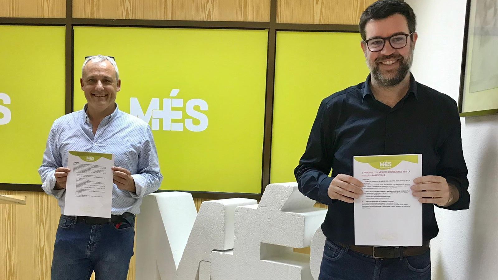 Jaume Alzamora i Toni Noguera, aquest dijous en la seu de MÉS per Mallorca