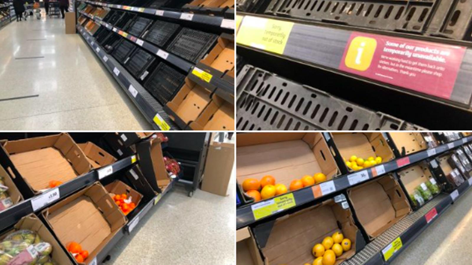 Un aspecte de les prestatgeries del supermercat Sainsbury's del centre comercial Forestside, als suburbis del sud de Belfast, aquest dilluns a la tarda