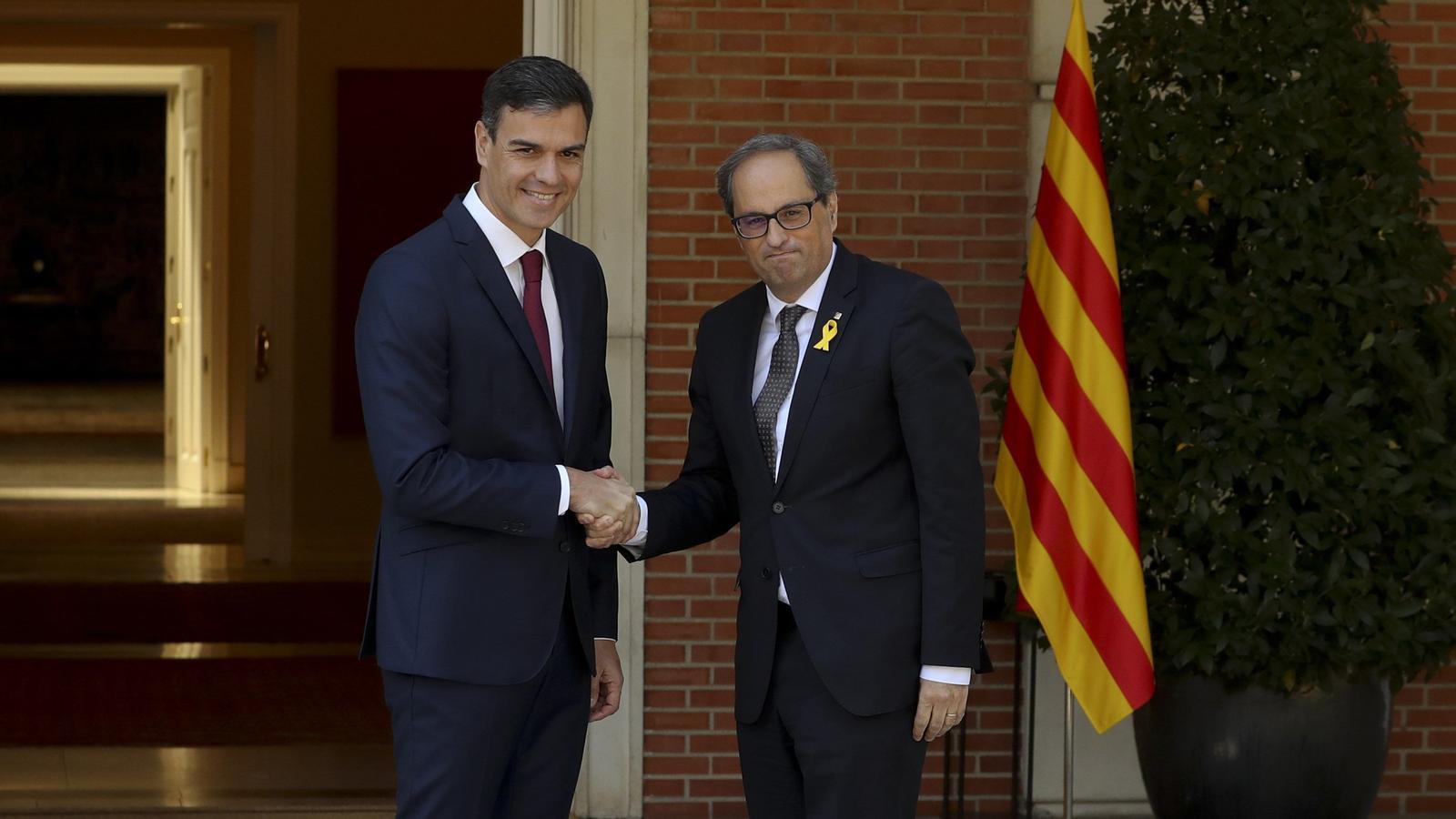 Pedro Sánchez i Quim Torra a la Moncloa / EFE