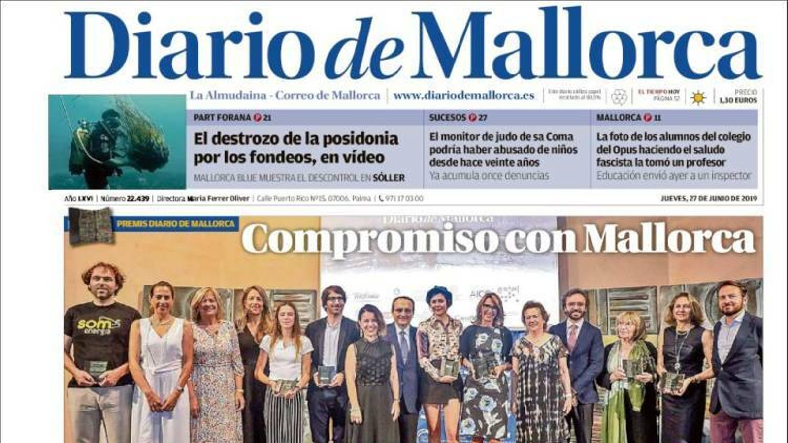 """""""Armengol es compromet a frenar el turisme de creuers i l'alt preu de l'habitatge"""", a la portada de 'Diario de Mallorca'"""
