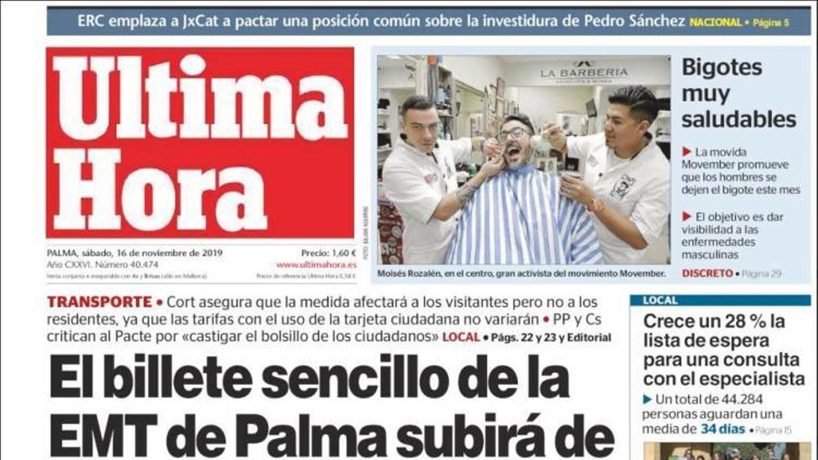"""""""El bitllet senzill de l'EMTde Palma apujarà d'1,50 a 2 euros el 2020"""", portada d''Última Hora'"""