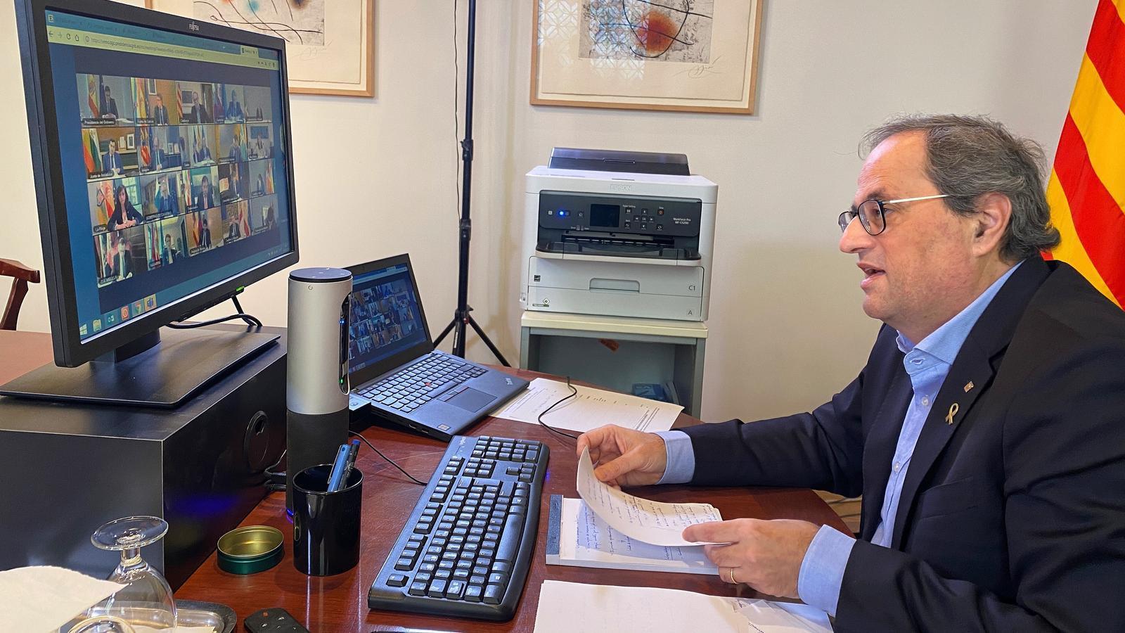 El president Quim Torra intervenint aquest diumenge en la reunió amb Pedro Sánchez.