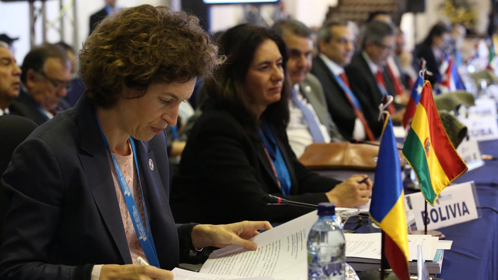 La ministra Maria Ubach a la reunió de ministres d'Exteriors iberoamericans a Guatemala. / SFG