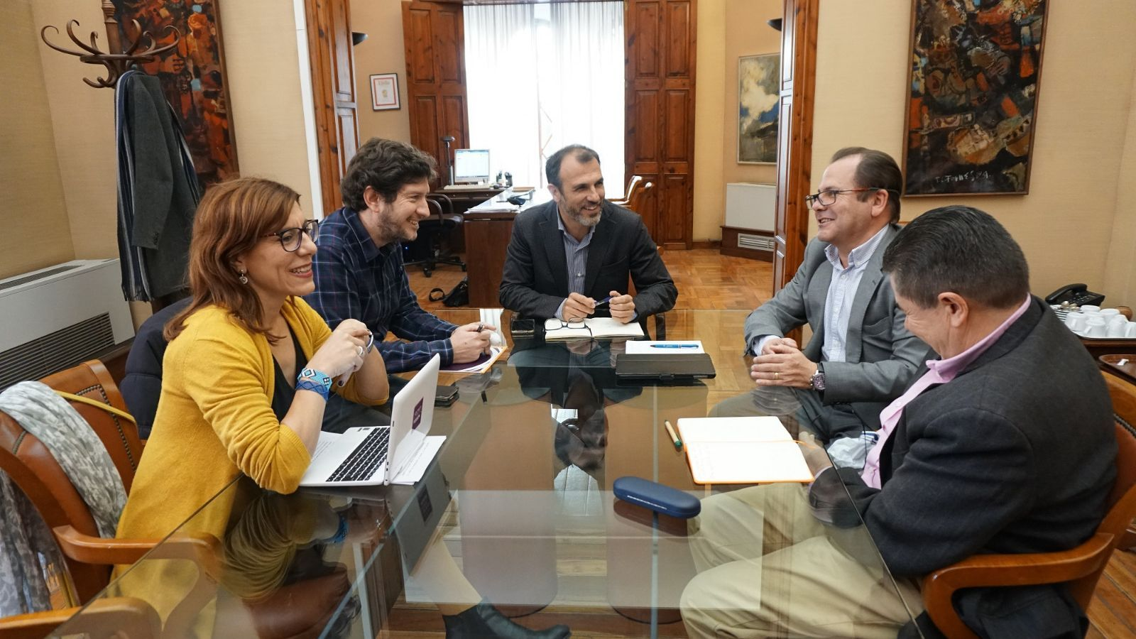 Jarabo, Camargo, Barceló, Sansó i Mayol en la reunió celebrada, aquest dimecres, a la conselleria de Turisme.