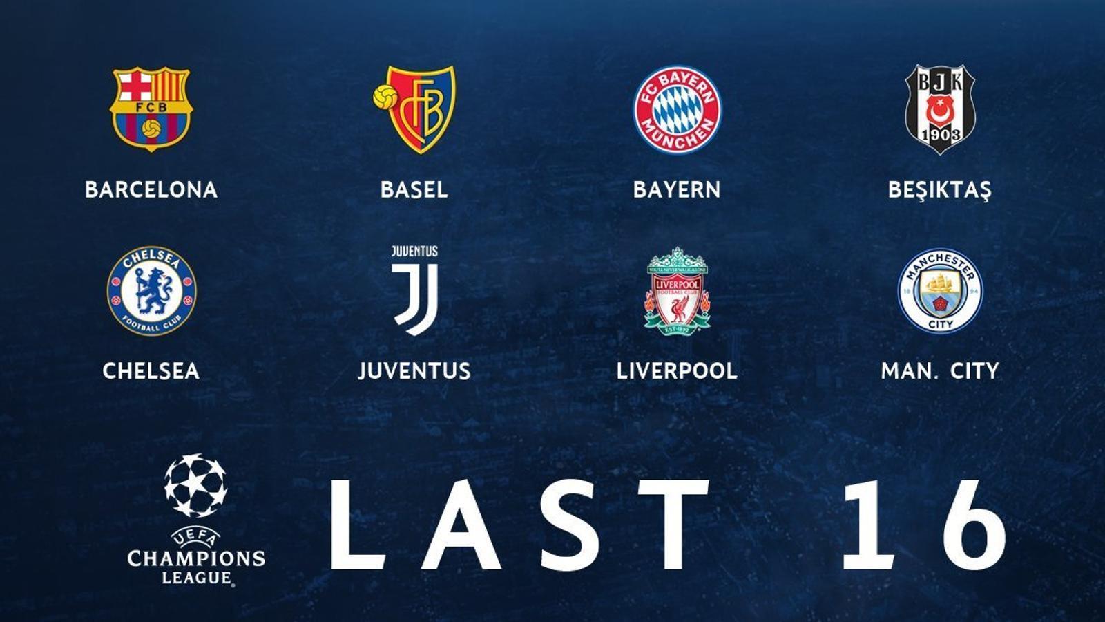 Els equips classificats per als setzens de final de la Champions League