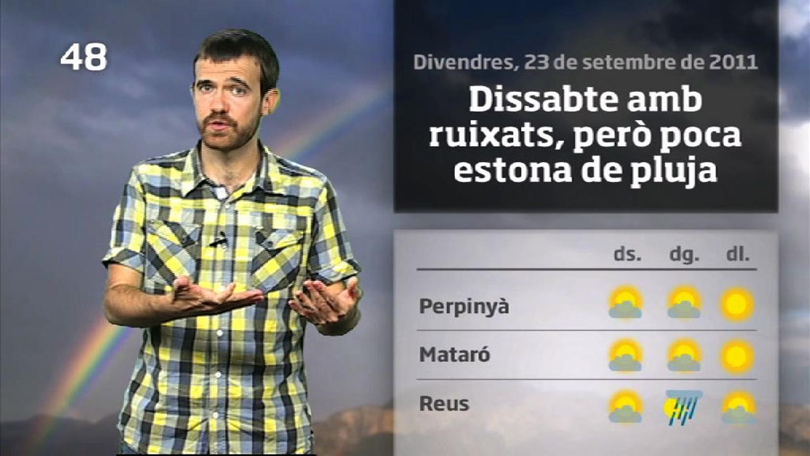 La méteo en 1 minut: dissabte insegur i amb xàfecs curts (24/09/2011)