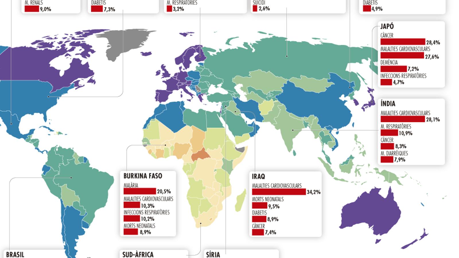 De què mor la gent a cada país