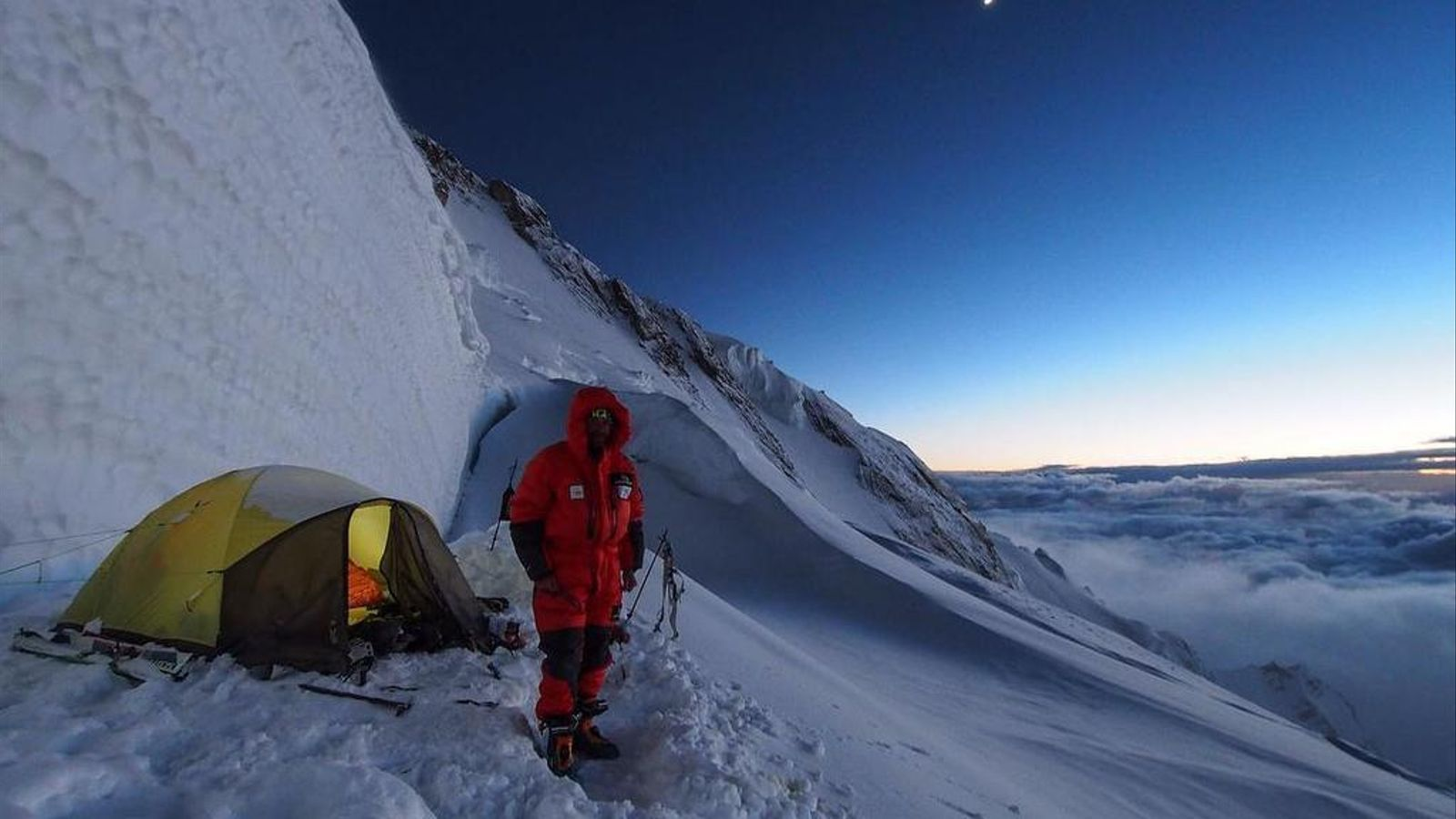 Ferran Latorre, al camp III del Nanga Parbat, situat a 7.000 metres d'alçada