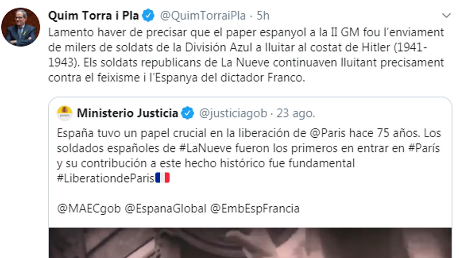 """Polèmica per una piulada del ministeri de Justícia sobre el """"paper crucial"""" d'Espanya en l'alliberament de París"""