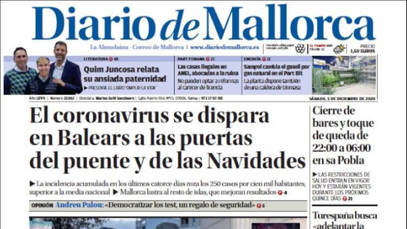 """""""El coronavirus es dispara a les Balears a les portes del Pont i de Nadal"""", portada de 'Diario de Mallorca'"""