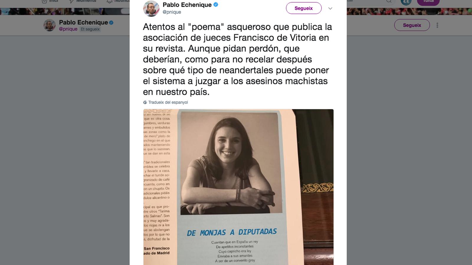 'De monges a diputades': el poema masclista contra Irene Montero publicat en una revista de jutges