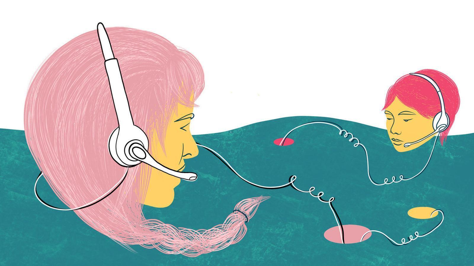 Teleoperadors: atacs d'ansietat,  25 trucades l'hora  i 600 euros al mes