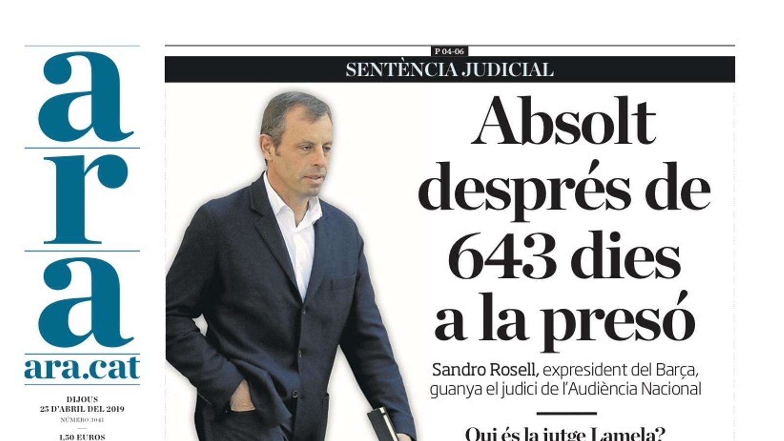 """""""Absolt després de 643 dies a la presó"""", portada de l'ARA"""