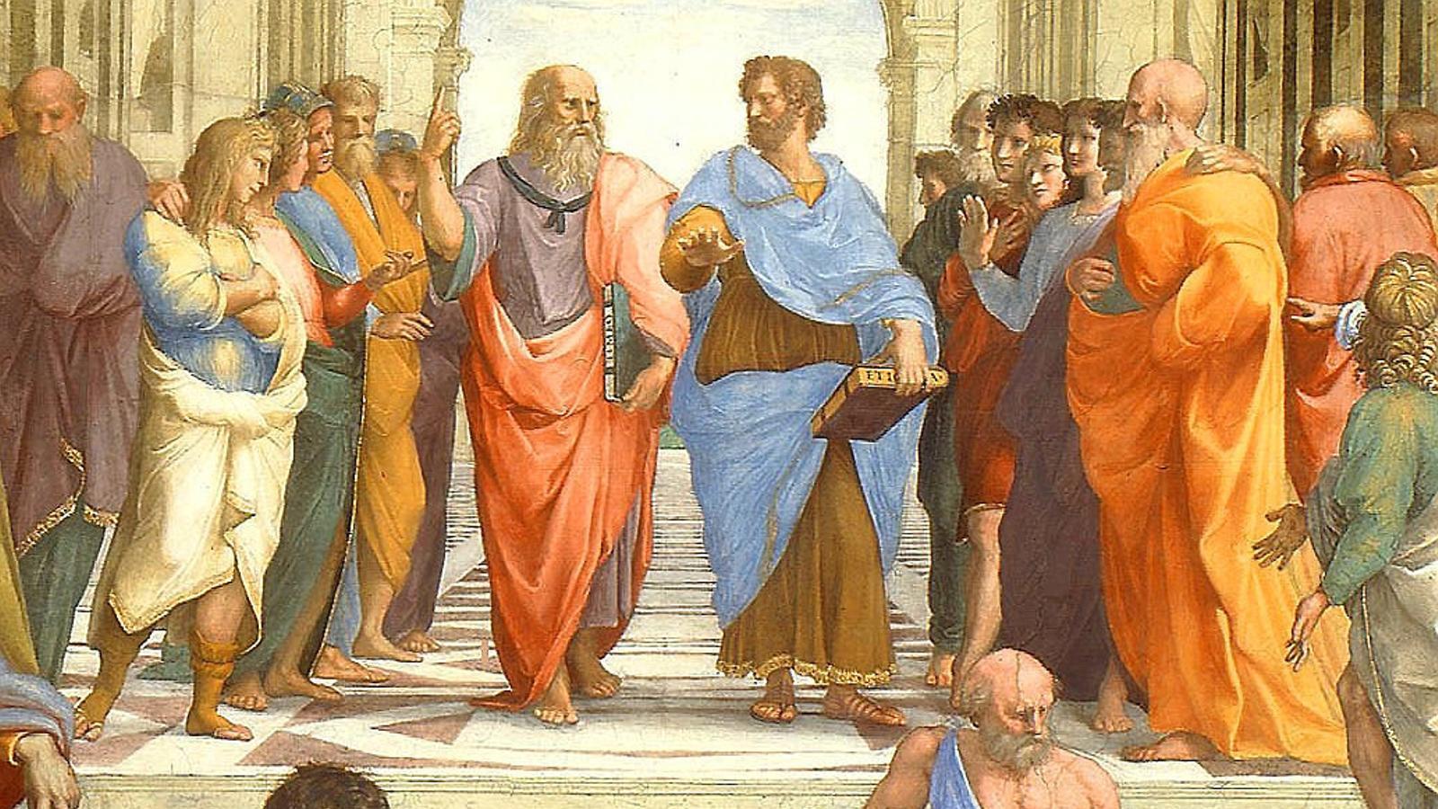 Rafael va pintar Heràclit (a baix a l'esquerra) amb la cara de Miquel Àngel a l'Escola d'Atenes.