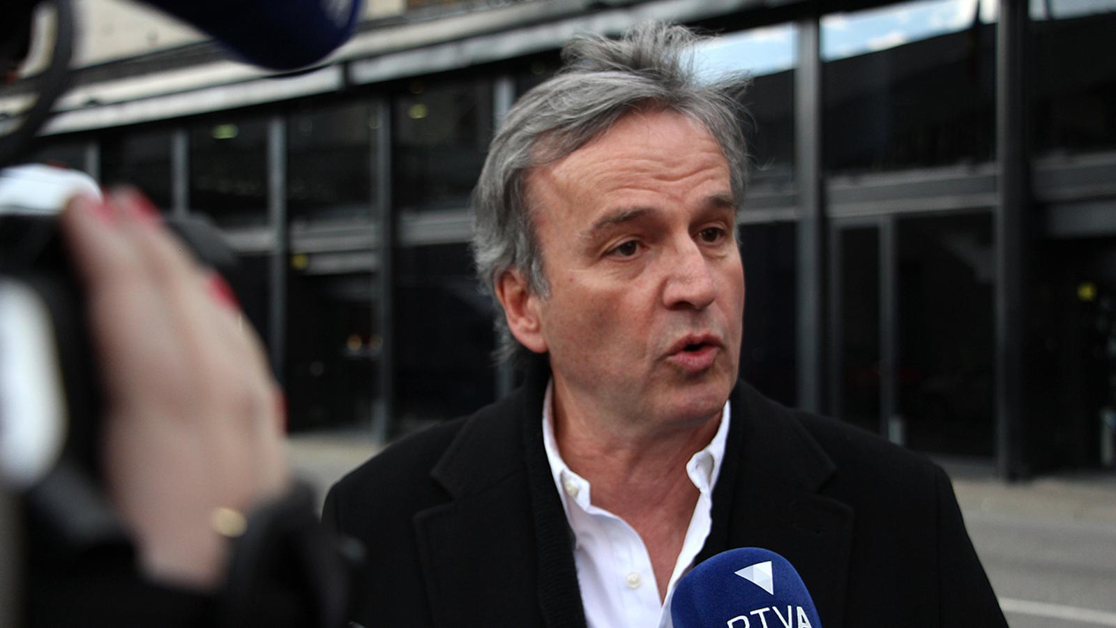 El candidat a cap de Govern d'AS, Eusebi Nomen, durant la compareixença davant dels mitjans el divendres passat. / M. M. (ANA)