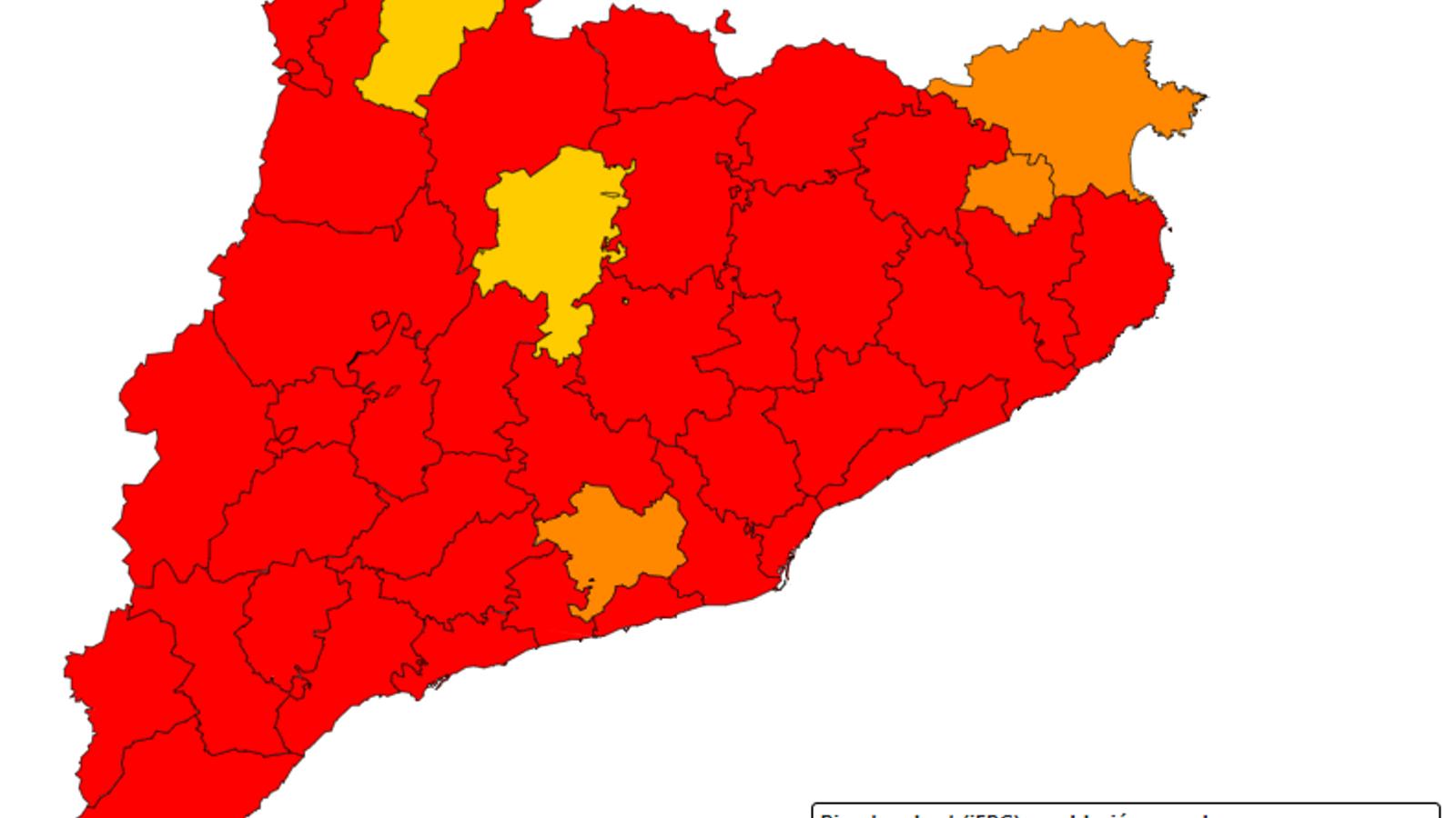 Mapa del risc de rebrot de coronavirus de Catalunya, per comarques.