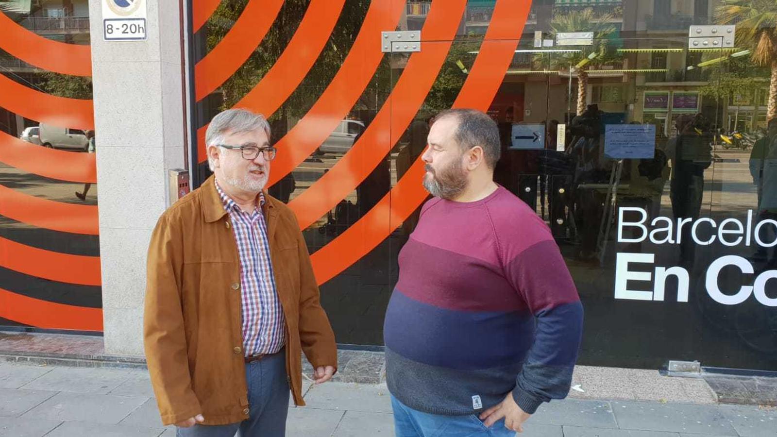 El coordinador general de Catalunya en Comú, Ramon Arnabat, i el portaveu, Joan Mena