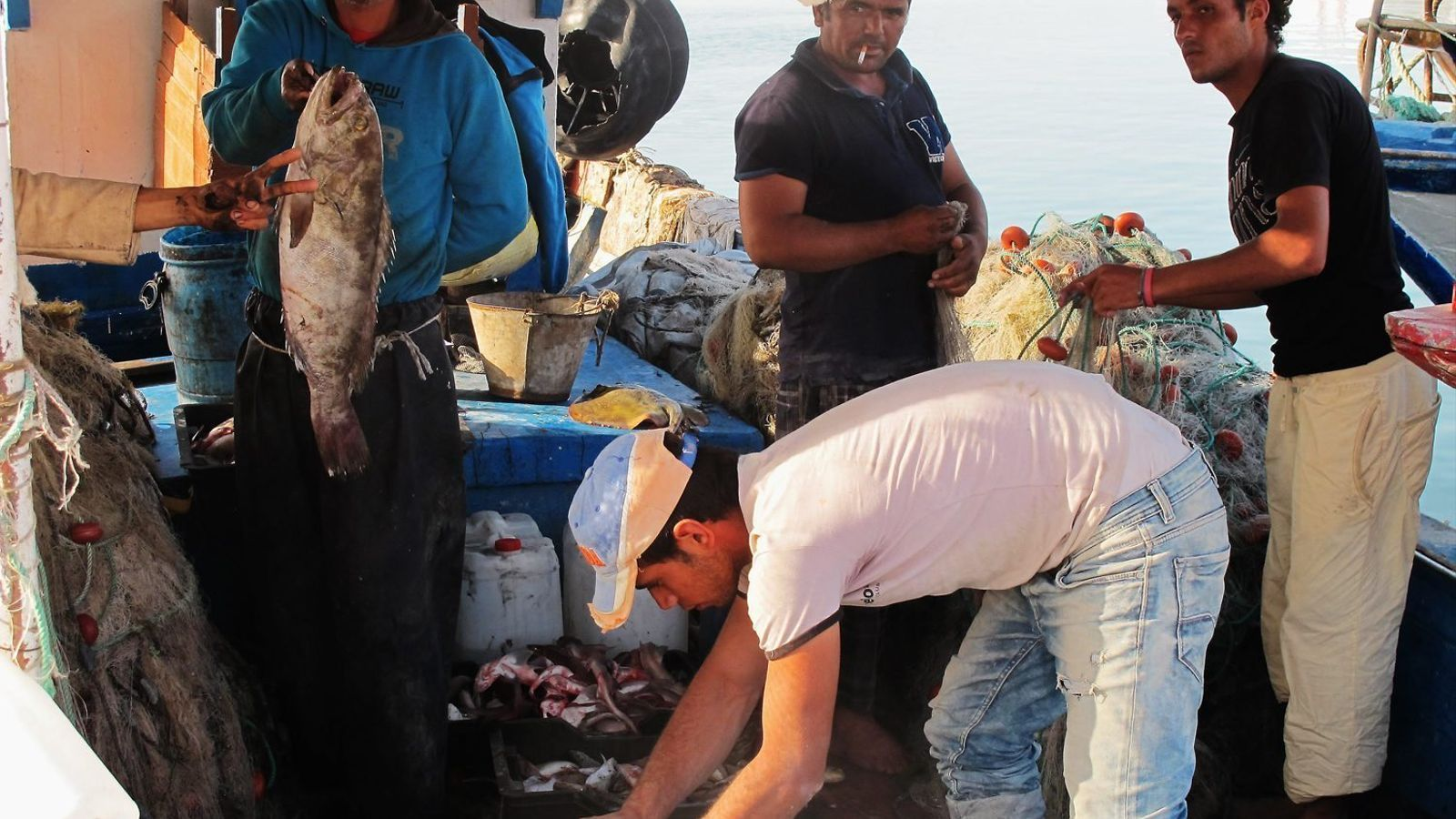 Pescadors al port tunisià de Katef, prop de la frontera amb Líbia, en tornar després d'una jornada al mar.