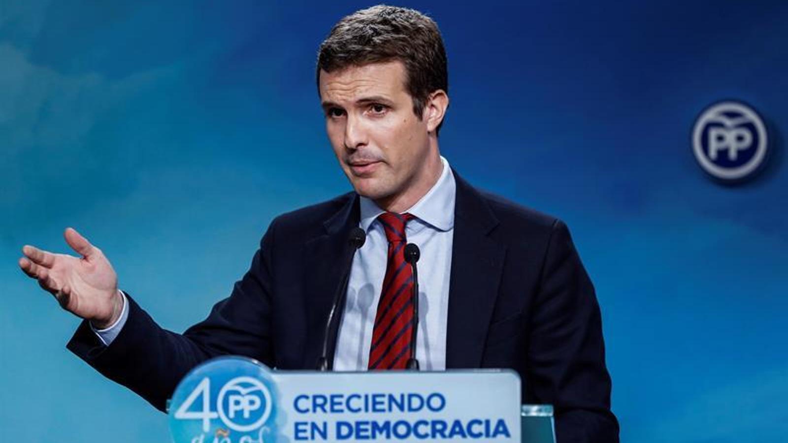 El vicesecretari de Comunicació del PP, Pablo Casado, durant la roda de premsa després del Comitè de Direcció del partit.