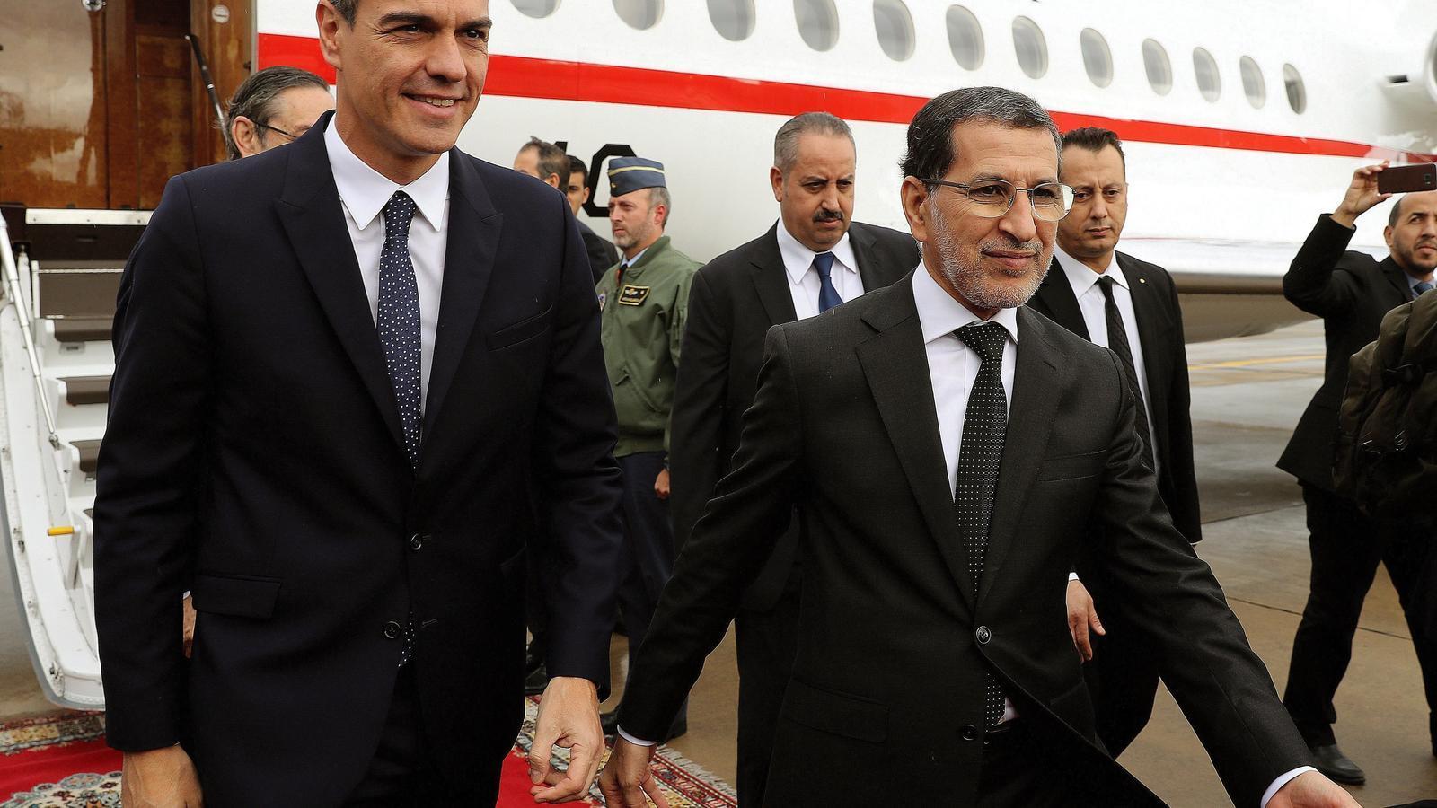 El primer ministre marroquí, Saadedín Al Othmani, rep a Pedro Sánchez a Rabat.