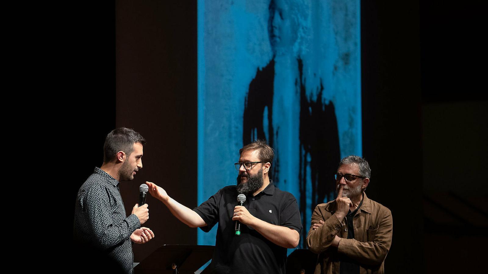 Joan Magrané, Marc Rosich i Jaume Plensa durant la presentació al Liceu el 2 de juliol.