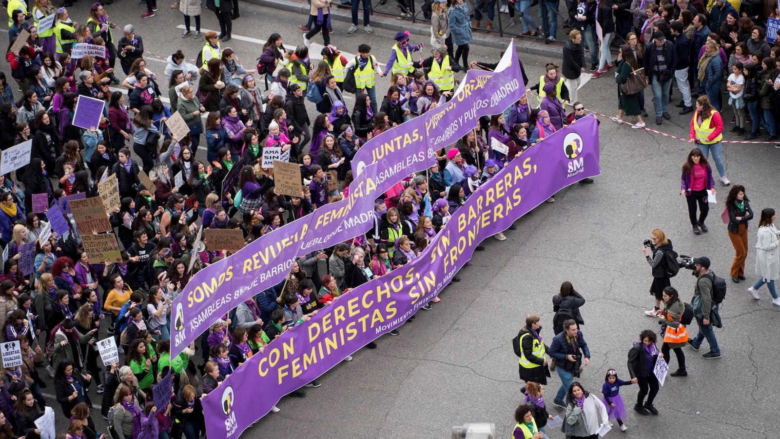 Una imatge de la capçalera de la manifestació del 8 de Març a Madrid