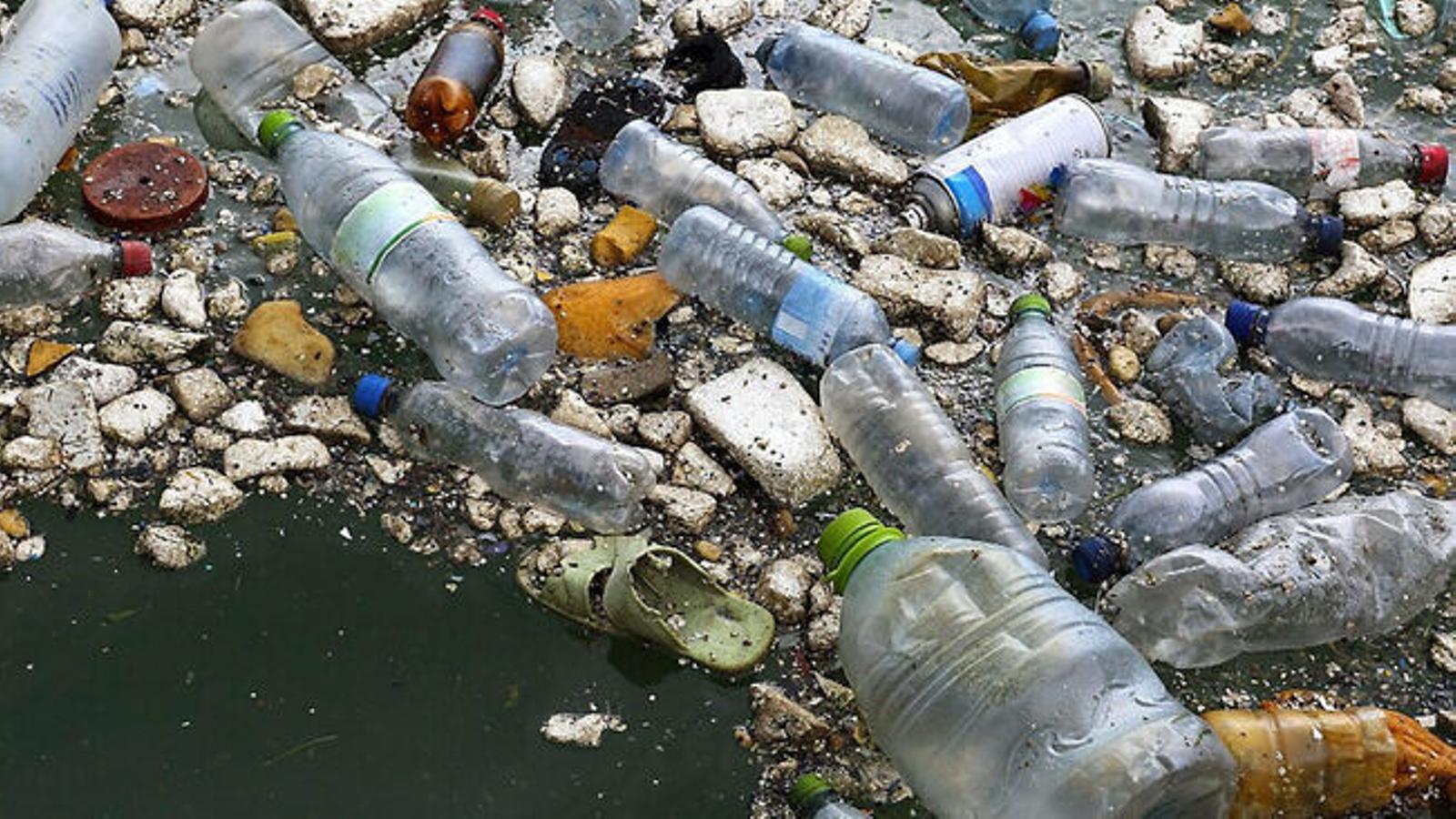 Plàstics surant a la mar.